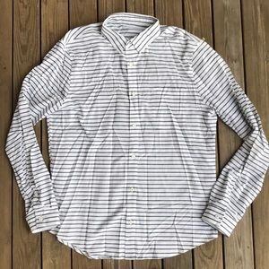 Lululemon striped button down shirt large white